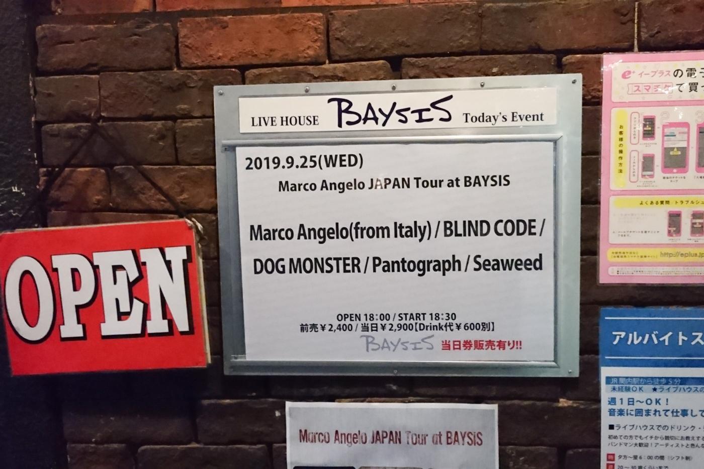 【Marco Angelo JAPAN Tour at BAYSIS】@横浜BAYSIS